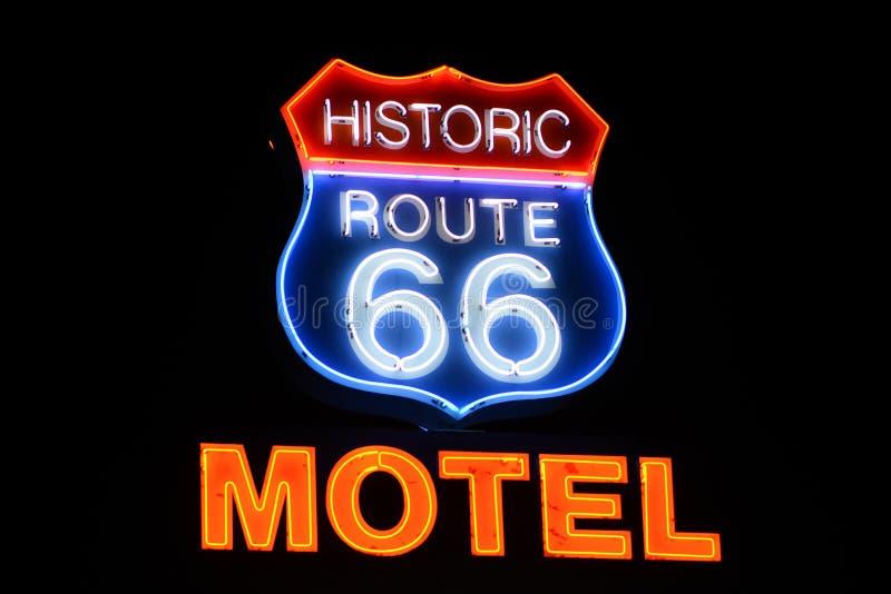 Sinal de néon do motel de Route 66 imagem de stock