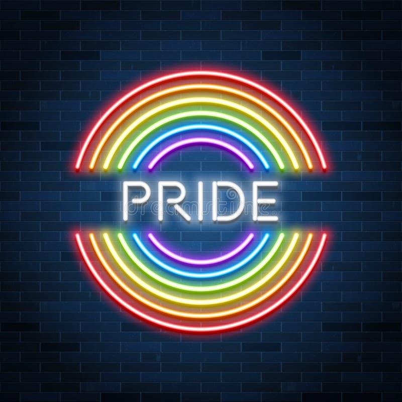 Sinal de néon do orgulho de LGBT, arco-íris de incandescência, celebração alegre do amor, vec ilustração royalty free