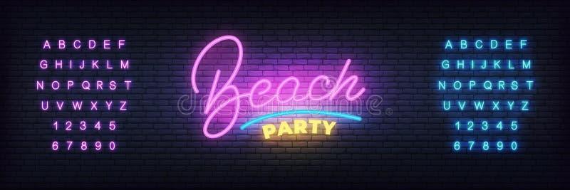 Sinal de néon do partido da praia Partido de rotulação de néon da praia do molde para a promoção do clube de dança do verão ilustração royalty free