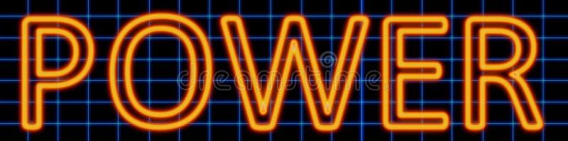 Sinal de néon do poder ilustração stock