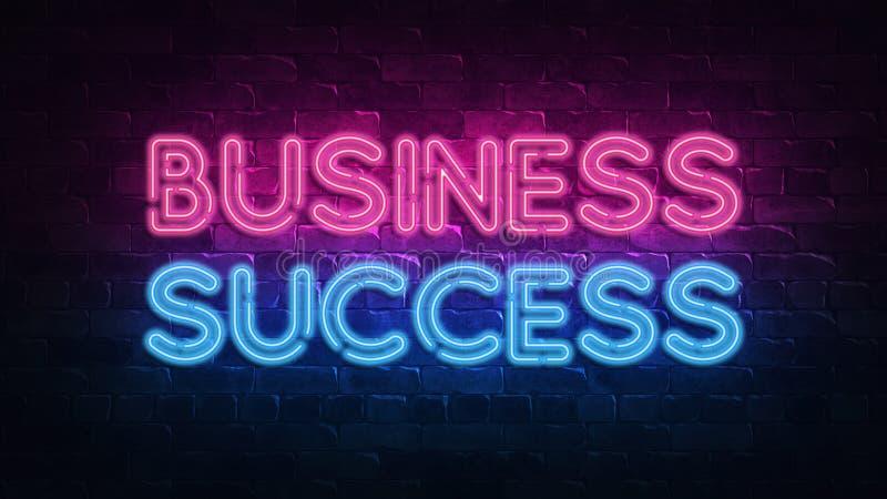 Sinal de néon do sucesso comercial r Texto de n?on r o 3d ilustração do vetor