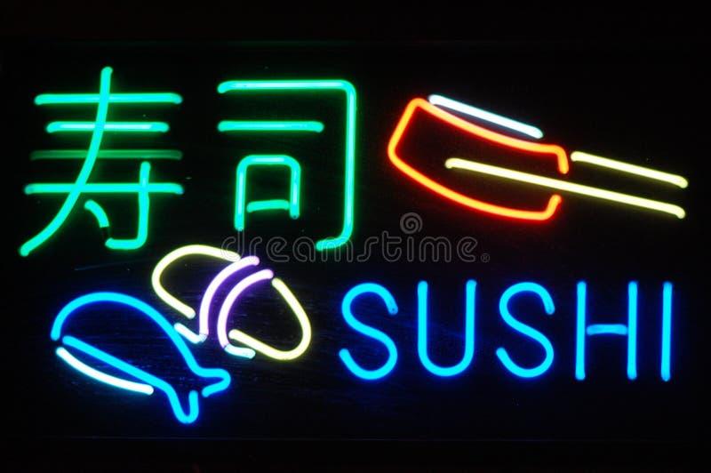 Sinal de néon do sushi foto de stock royalty free