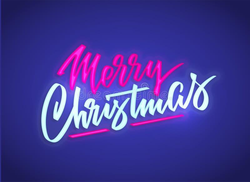 Sinal de néon do texto do Feliz Natal Fundo do vetor Quadro indicador de incandescência de néon, bandeira luminosa brilhante ilustração do vetor