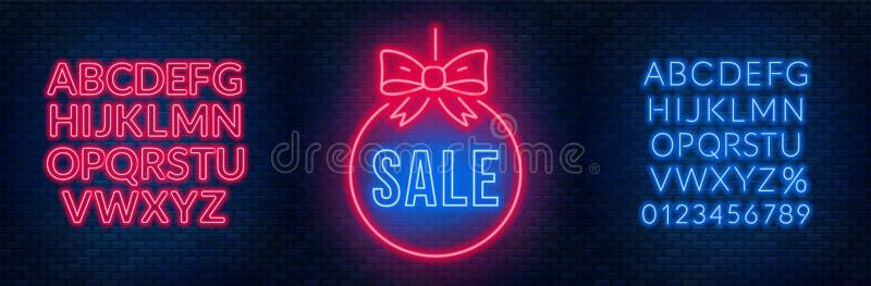 Sinal de néon e fontes da venda em um fundo escuro Descontos e ofertas do molde ilustração do vetor