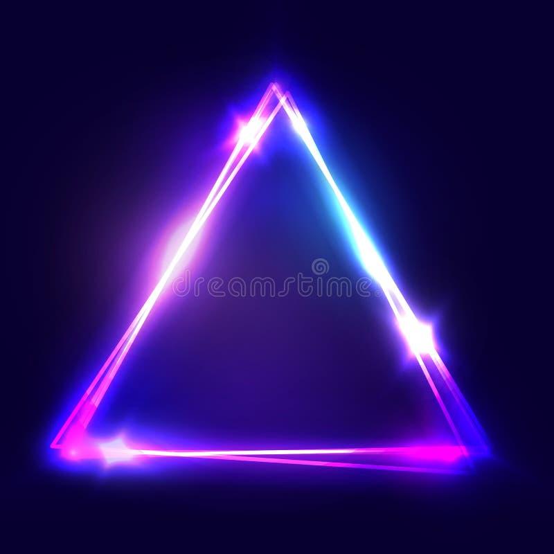 Sinal de néon Fundo do triângulo Quadro abstrato bonde de incandescência no contexto escuro Bandeira clara com fulgor Vetor brilh ilustração stock