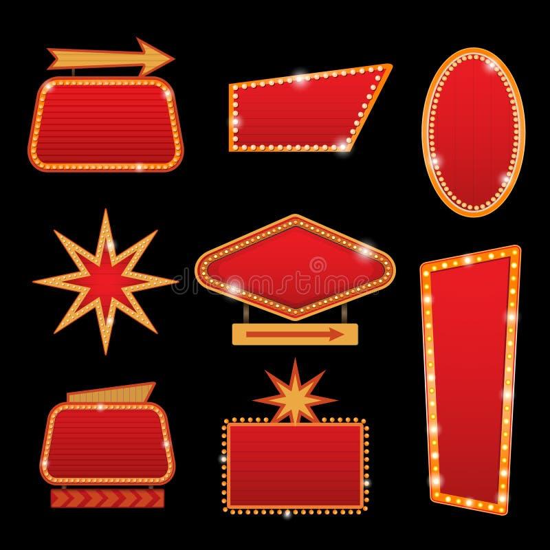 Sinal de néon de incandescência do cinema retro brilhantemente do vetor do casino ou do teatro ilustração do vetor