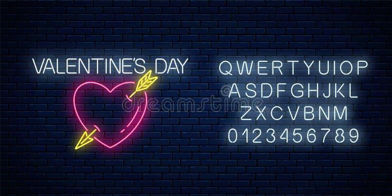 Sinal de néon de incandescência do dia de Valentim com forma do coração e seta com alfabeto Ilustração do vetor do dia de são val ilustração do vetor