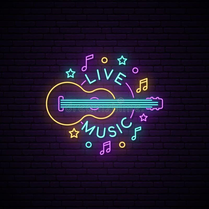 Sinal de néon de Live Music ilustração stock
