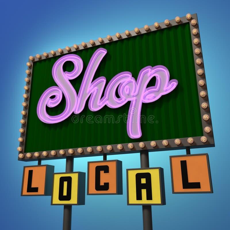 Sinal de néon local da loja ilustração royalty free