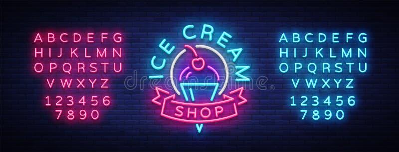 Sinal de néon de loja de gelado Logotipo da loja de gelado no estilo de néon, símbolo, bandeira clara, gelado brilhante da propag ilustração do vetor