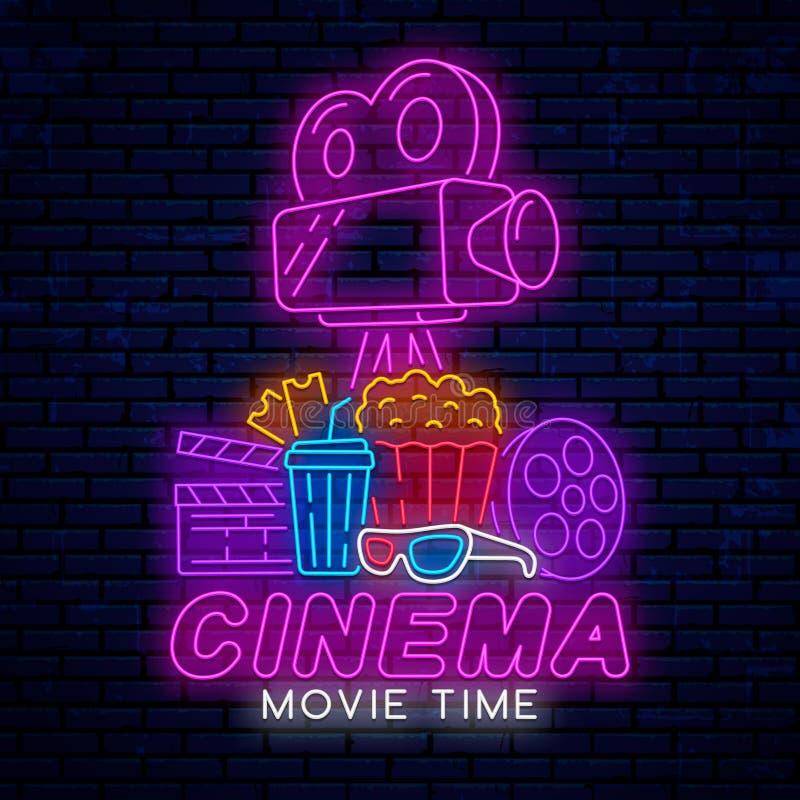Sinal de néon para o cinema ilustração stock
