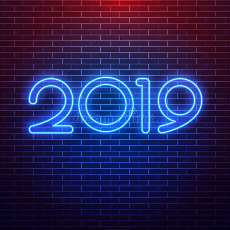 Sinal de néon realístico do logotipo 2019 para a decoração no fundo da parede Conceito do Feliz Natal e do ano novo feliz ilustração do vetor