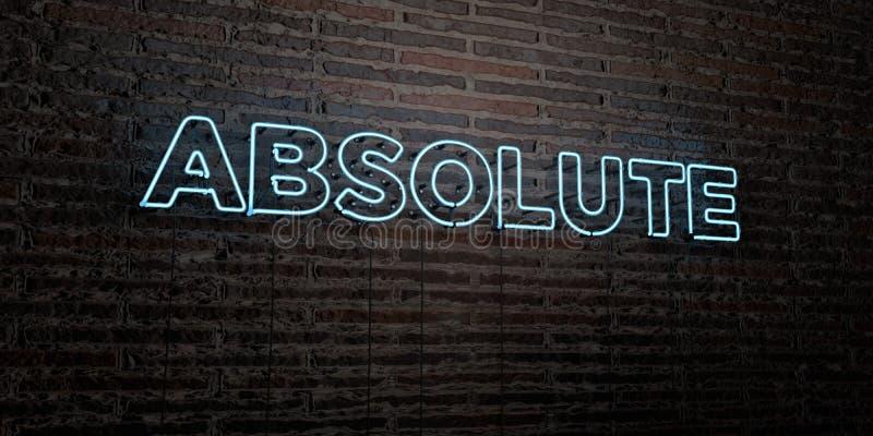 - Sinal de néon realístico no fundo da parede de tijolo - 3D ABSOLUTO rendeu a imagem conservada em estoque livre dos direitos ilustração do vetor