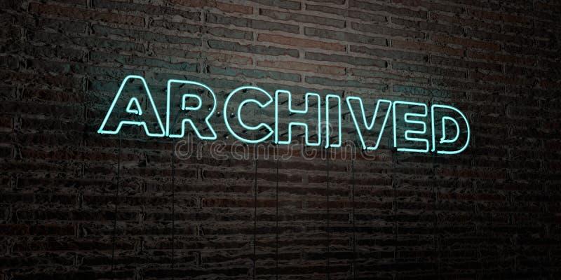 - Sinal de néon realístico no fundo da parede de tijolo - 3D ARQUIVADO rendeu a imagem conservada em estoque livre dos direitos ilustração royalty free