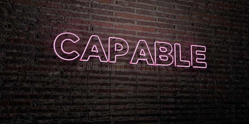 - Sinal de néon realístico no fundo da parede de tijolo - 3D CAPAZ rendeu a imagem conservada em estoque livre dos direitos ilustração stock