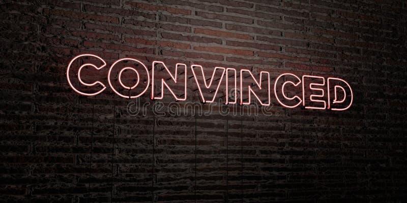 - Sinal de néon realístico no fundo da parede de tijolo - 3D CONVENCIDO rendeu a imagem conservada em estoque livre dos direitos ilustração stock