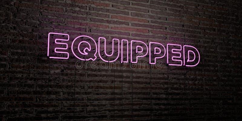 - Sinal de néon realístico no fundo da parede de tijolo - 3D EQUIPADO rendeu a imagem conservada em estoque livre dos direitos ilustração stock