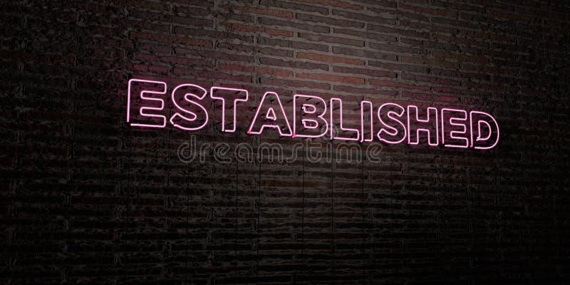 - Sinal de néon realístico no fundo da parede de tijolo - 3D ESTABELECIDO rendeu a imagem conservada em estoque livre dos direito ilustração royalty free