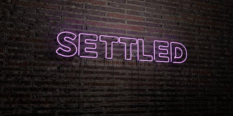 - Sinal de néon realístico no fundo da parede de tijolo - 3D ESTABELECIDO rendeu a imagem conservada em estoque livre dos direito ilustração stock