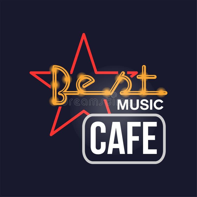 Sinal de néon retro do melhor café da música, quadro indicador de incandescência brilhante do vintage, ilustração clara do vetor  ilustração royalty free