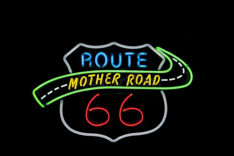 Sinal de néon, Route 66 foto de stock