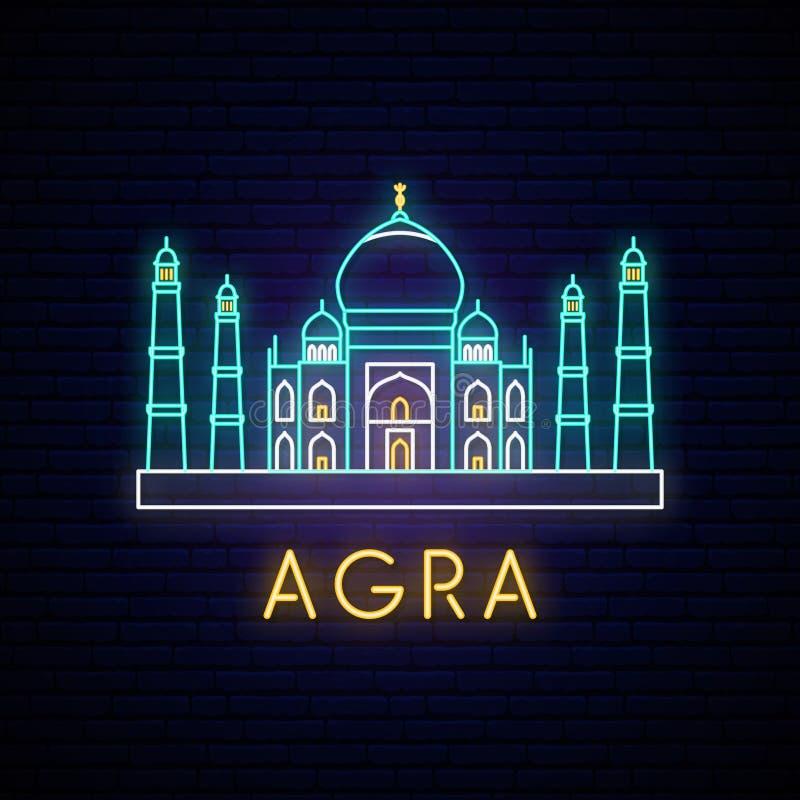 Sinal de néon de Taj Mahal ilustração do vetor