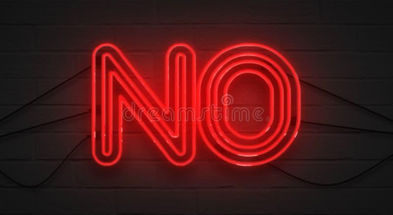 Sinal de néon vermelho de cintilação piscar no fundo da parede de tijolo, nenhum símbolo da negação fotos de stock