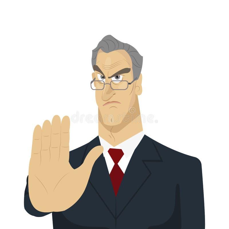 Sinal de parada irritado do chefe e da mão ilustração do vetor