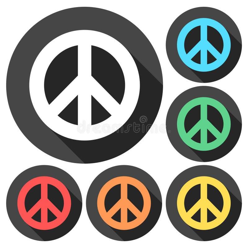 Sinal de paz - ícone liso com sombra longa ilustração stock