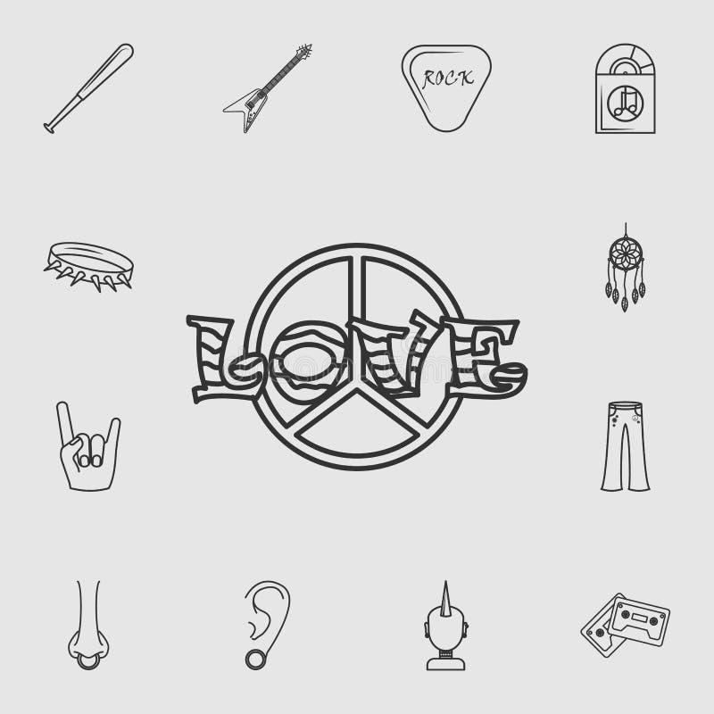 Sinal de paz com ícone do amor Grupo detalhado de ícones do estilo de vida Projeto gráfico da qualidade superior Um dos ícones da ilustração stock