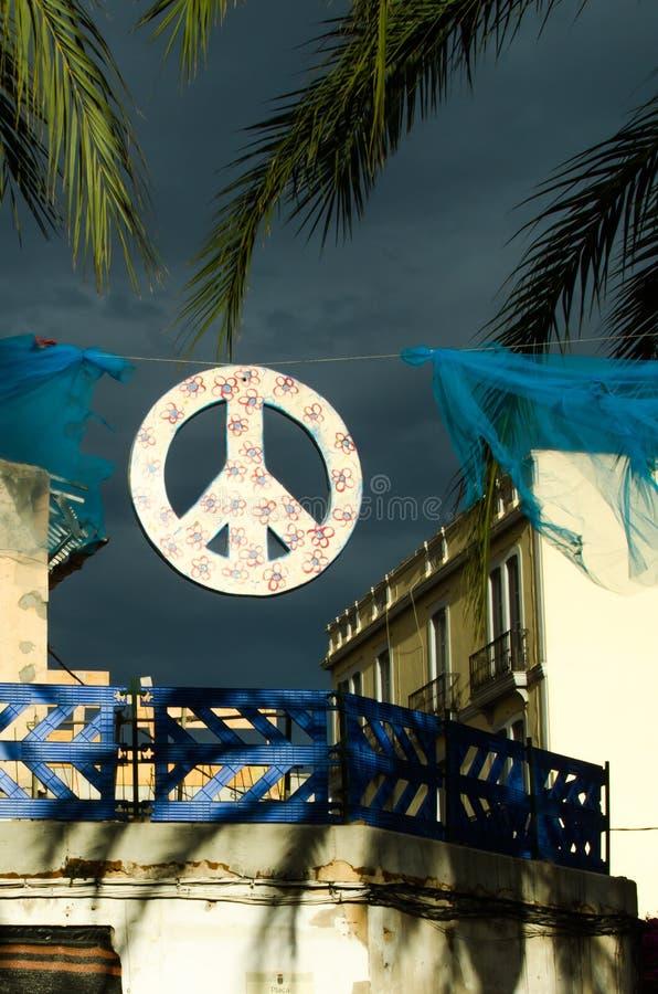 Sinal de paz Ibiza fotografia de stock royalty free