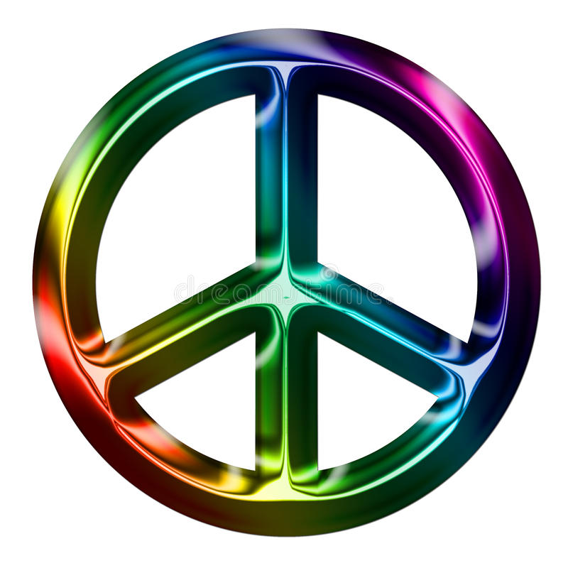 Sinal de paz metálico do arco-íris ilustração do vetor