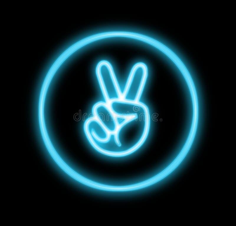 Sinal de paz de néon da mão ilustração do vetor