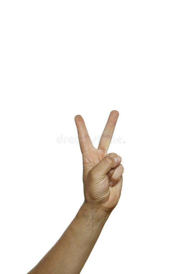 Sinal de paz, sinal de NR 2 isolado no branco fotos de stock royalty free