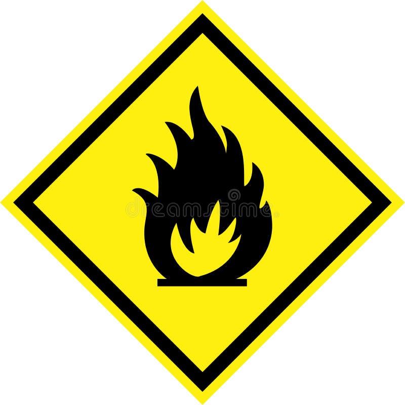 Sinal de perigo amarelo com fogo ilustração do vetor