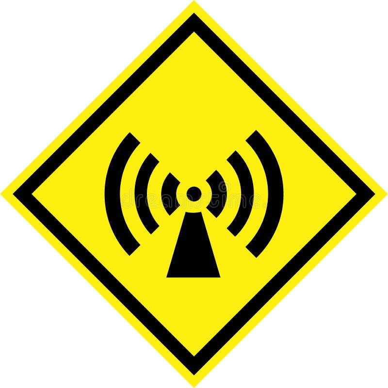 Sinal de perigo amarelo com radiação deionização ilustração royalty free