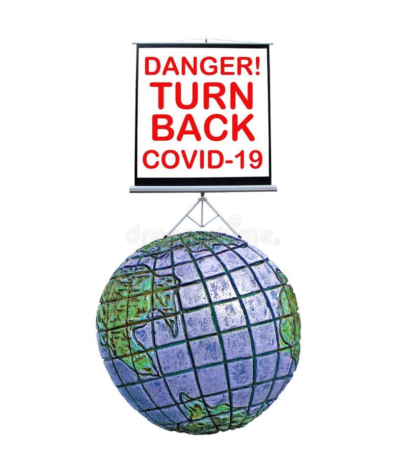 Sinal de perigo da Terra do Planeta devido à pandemia de coronavírus covid-19 nova epidemia do mundo fechado crise de recessão fa foto de stock