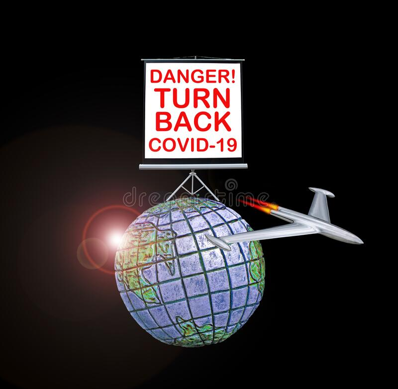 Sinal de perigo da Terra do Planeta devido à pandemia de coronavírus covid-19 nova epidemia do mundo fechado crise de recessão fa imagens de stock royalty free