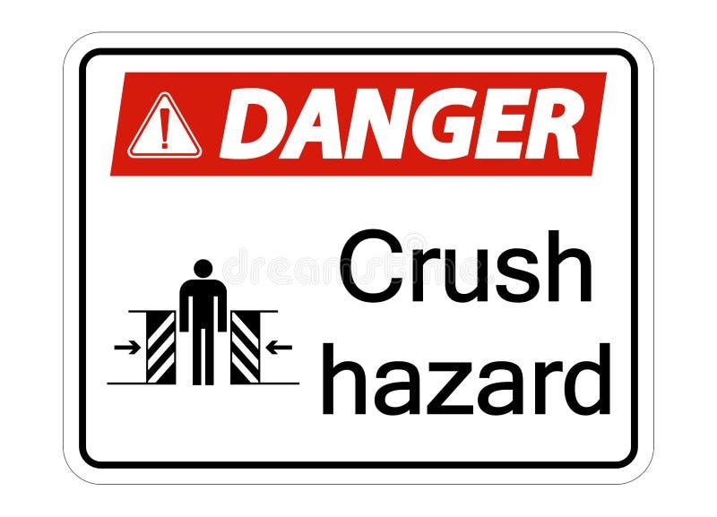 sinal de perigo do esmagamento do perigo do símbolo no fundo branco ilustração do vetor