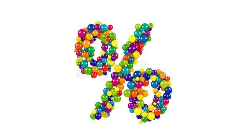 Sinal de por cento colorido arco-íris formado das esferas ilustração do vetor