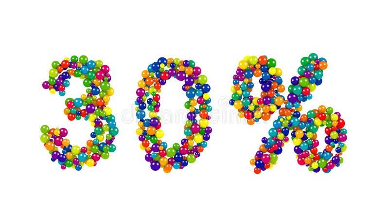 Sinal de 30 por cento colorido vibrante para anunciar ilustração royalty free