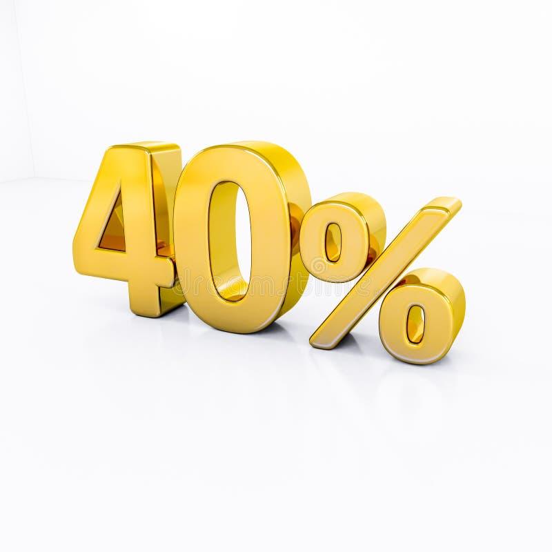 Sinal de por cento do ouro ilustração royalty free