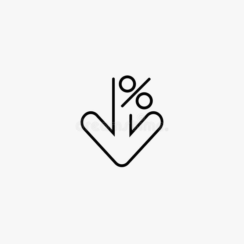 Sinal de porcentagem para baixo Redução do símbolo da seta Fundo cinzento Ilustração do vetor ilustração do vetor