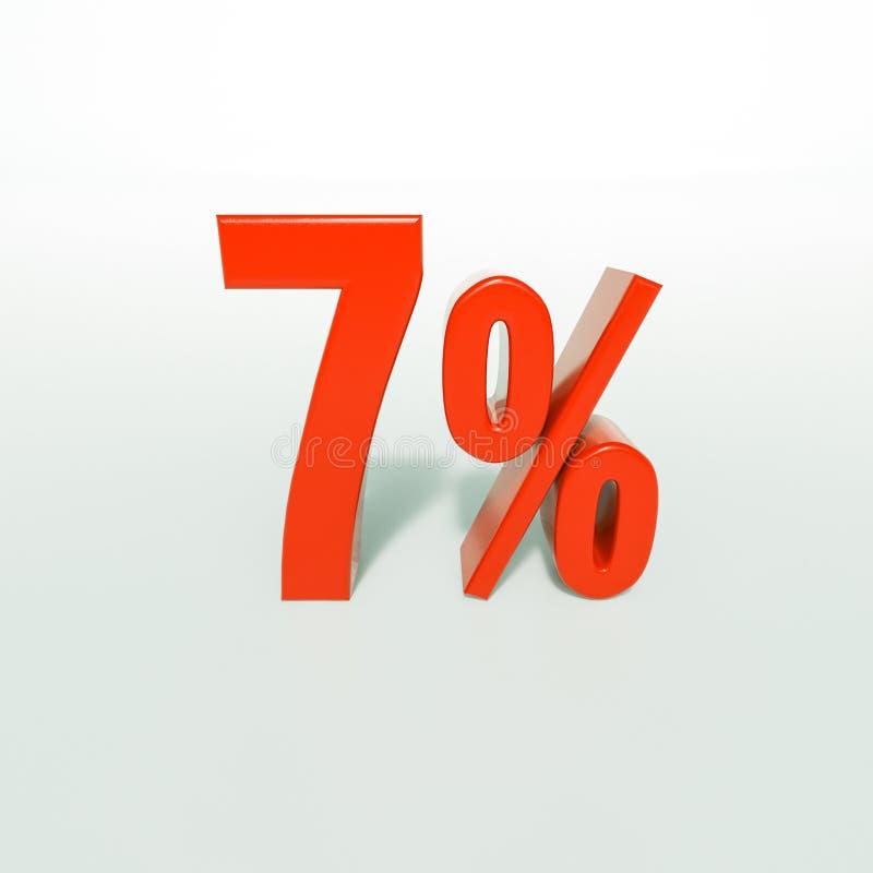 Sinal de porcentagem, 7 por cento ilustração stock