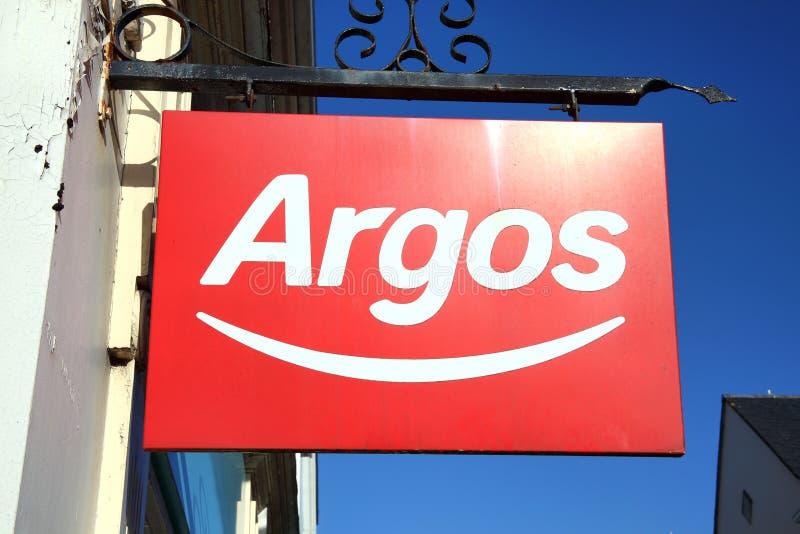 Sinal de propaganda do logotipo de Argos imagens de stock
