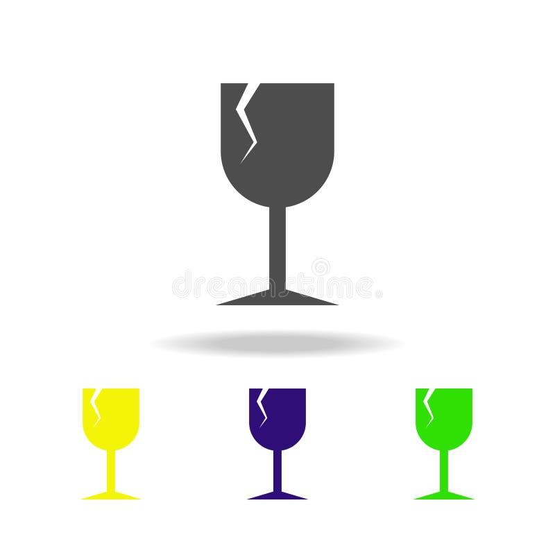 sinal de quebrar ícones coloridos dos objetos Sinais e ícone para Web site, design web da coleção dos símbolos, app móvel no bran ilustração royalty free