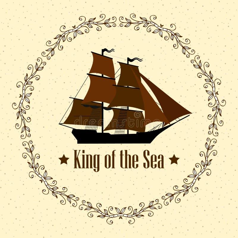Sinal de Rei do Mar Entregar com elementos editáveis separados Desenho para clubes de iates, camisas, etc fotos de stock royalty free