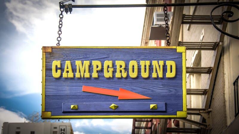 Sinal de rua ao acampamento fotos de stock