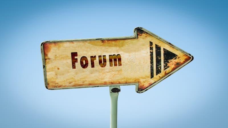 Sinal de rua ao fórum ilustração do vetor