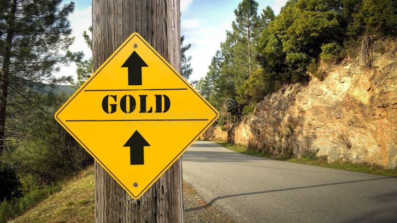 Sinal de rua ao ouro ilustração do vetor